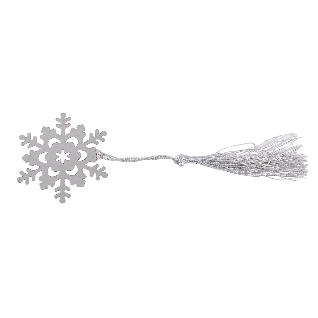 Fashionable Snowflake Pattern Hollow Out Design Tassels Bookmark Baby Shower Bridal Wedding Party Favors Pack of 25PCS Silver