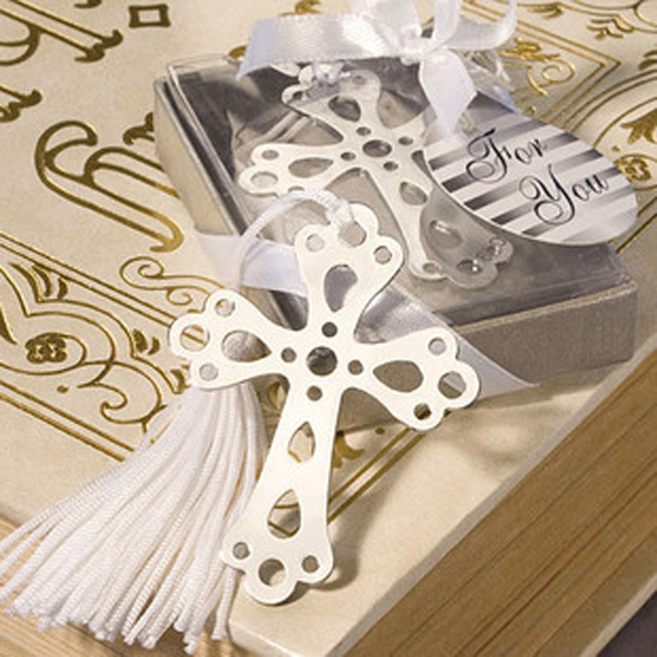 Cross Shape Hollow Out Design Bookmark With White Tassel Baby Shower Christening Wedding Favour Gift Pack of 6PCS Silver