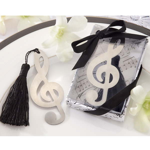 Fashionable Music Symbol Hollow Out Design Tassels Attached Stainless Steel Bookmark Wedding Party Favors Pack of 3PCS Silver