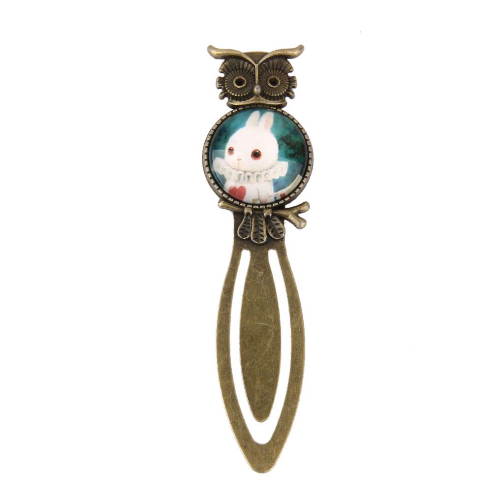 Antique Style White Rabbit Pattern Metal Clip Bookmark Marker Gift