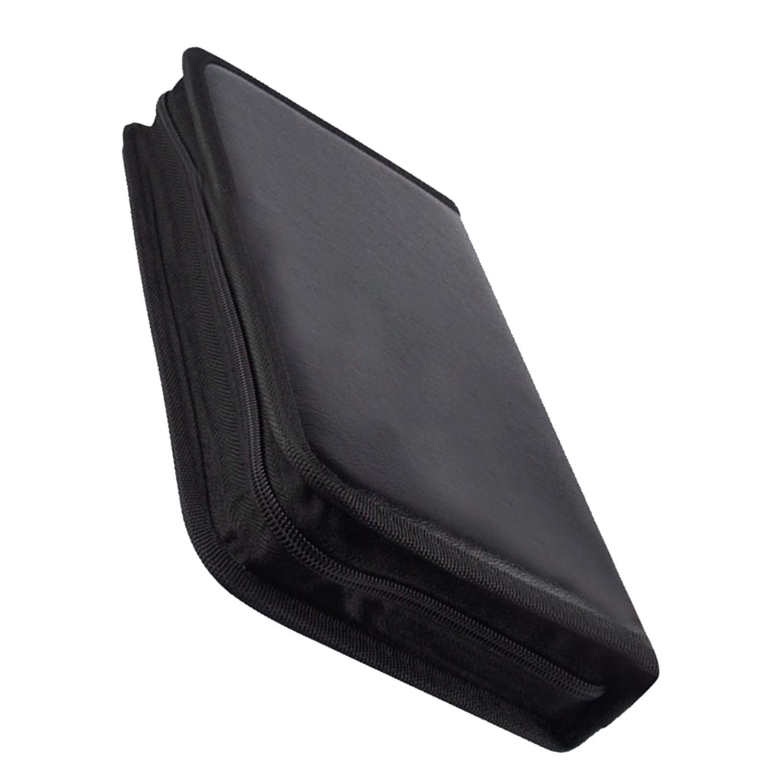 80Disc CD Holder DVD Case Storage Wallet VCD Organizer Black PU Leather Bag