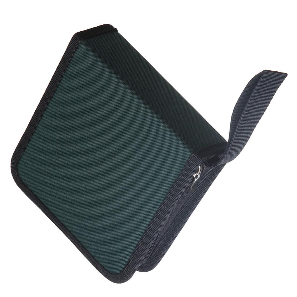 Nylon CD/DVD 40 Capacity Case, Heavy Duty CD Wallet Disc Holder Storage Box Bag for Car, Home, Office or Travel Use Green