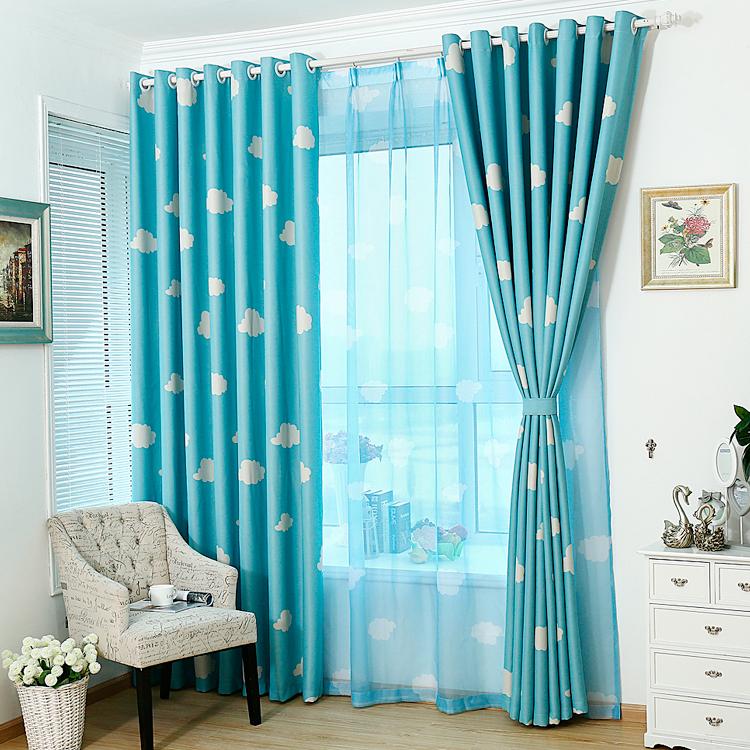 Cute Fashionable Modern Cloud Pattern Voile Curtain Window Door Wall Living Room Decor 100x250cm Blue