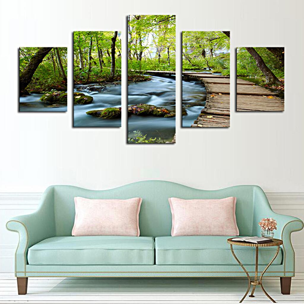 Join-Together Canvas Painting Modern Picture Home Office Decor Set of 5 GREEN TREE