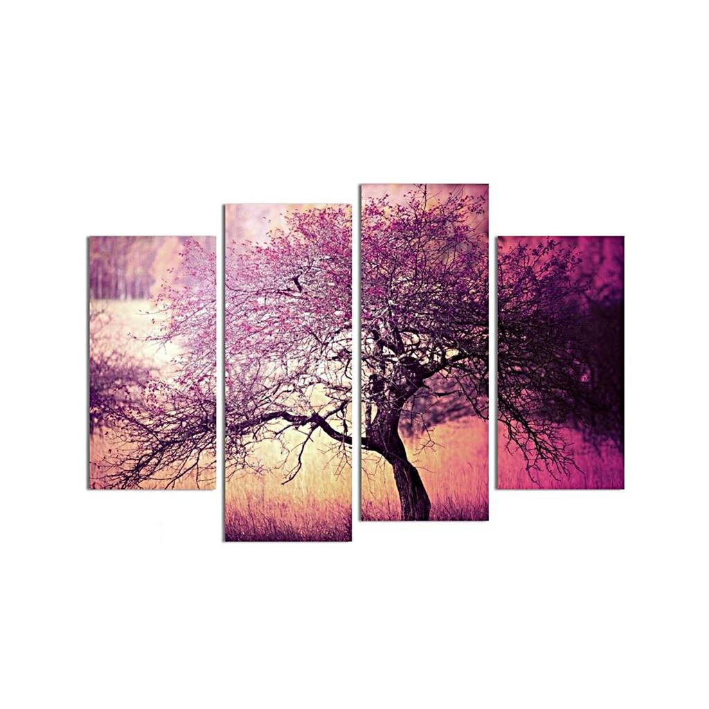 Set of 4 Join-Together PURPLE TREE Oil Canvas Painting Modern Art Picturee Office Home Wall Decor