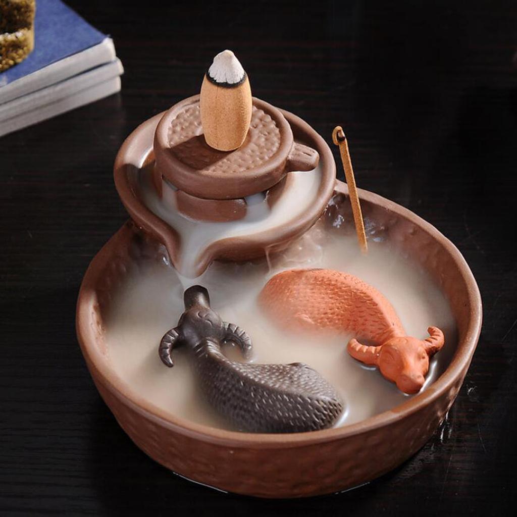 Set of Incense Burner Smoke Backflow Censer Handcraft + 70pcs Lavender Incense Cones