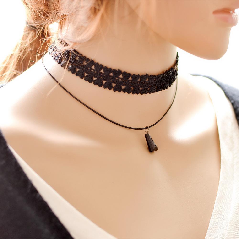 Black Lace Chain Collar Choker Necklace Gothic Vintage Artifical Gem Stone Pendant