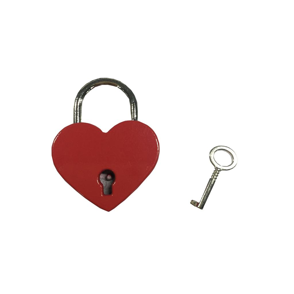 Vintage Antique Style Small Padlock Heart Shaped With Keys -Red