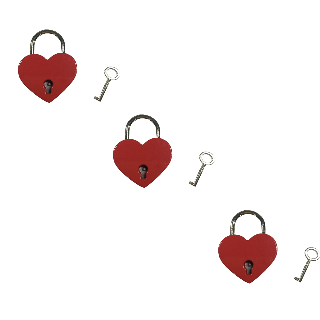 Vintage Mini Padlock Heart Shaped Key Lock Red Pack of 3