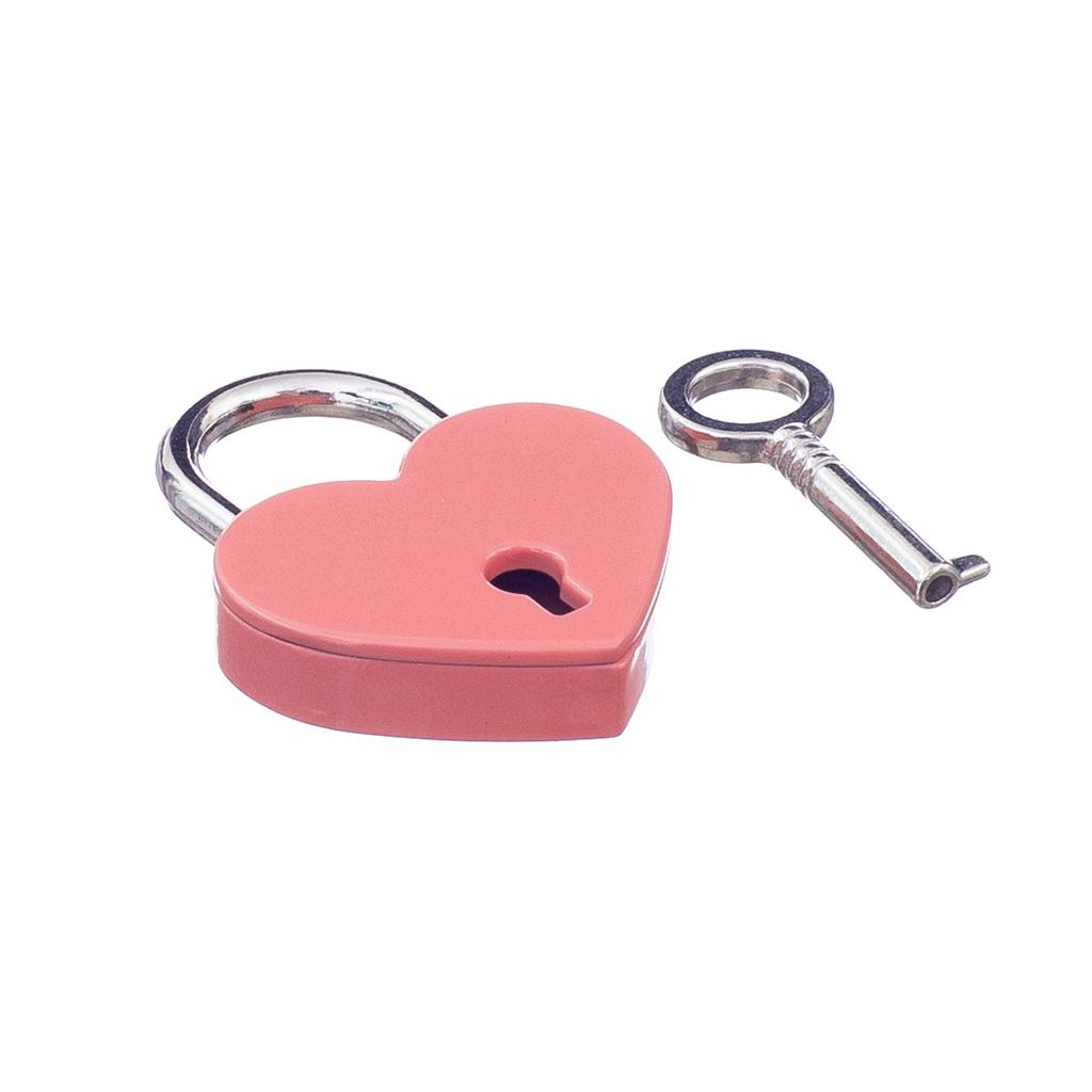 Old Vintage Antique Style Small Padlock Heart Shaped With Keys-Pink