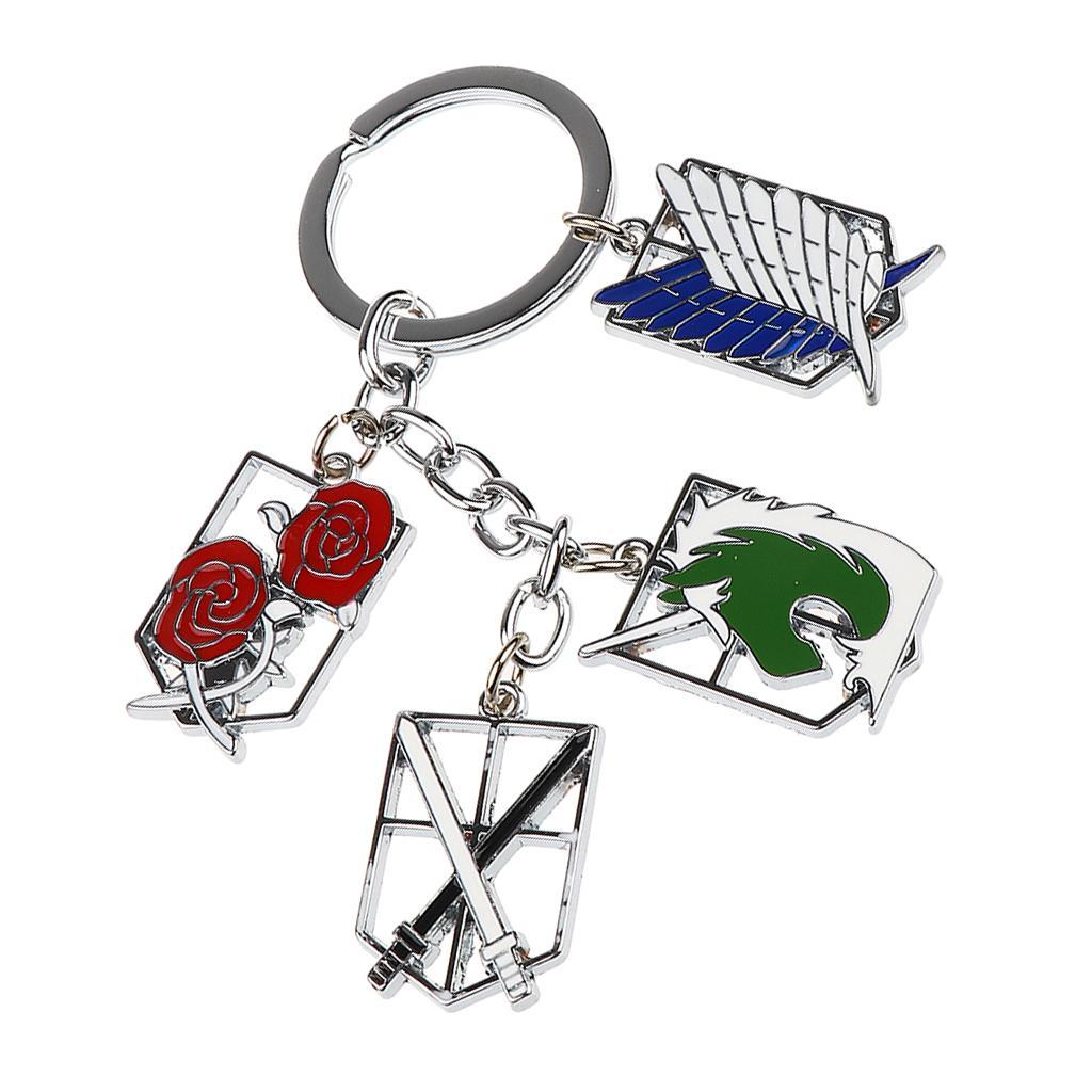 Anime Attack on Titan Keychain Multi Emblems Badges Keyring Shingeki no Kyojin
