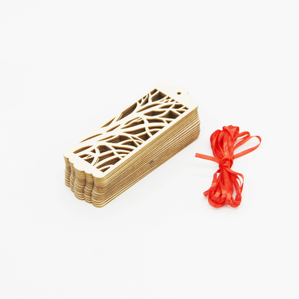 10x Vintage Wooden Hollowed Tree Rectangle Bookmark Hanging Gift Tags with Ribbon