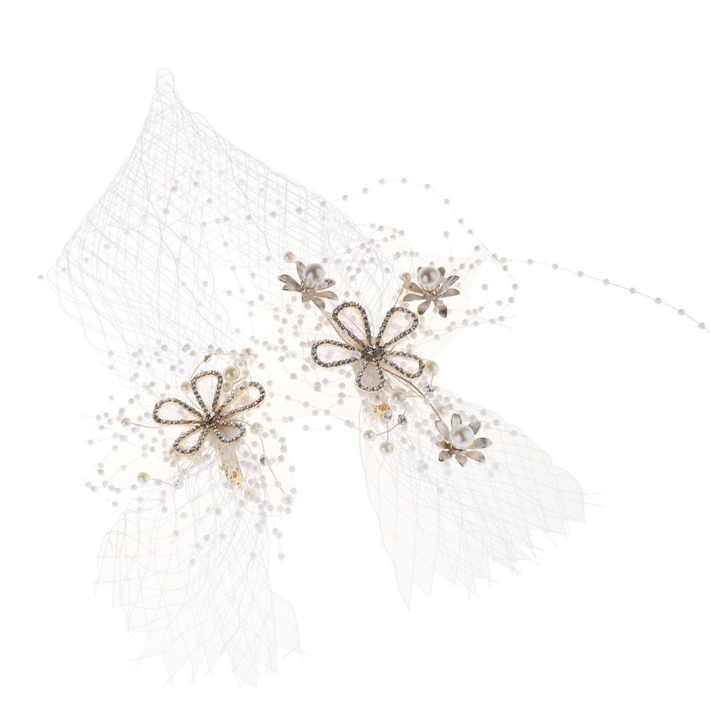 Wedding Bridal Veil Crystal Flower Headband Headpiece Hairband Hair Costume