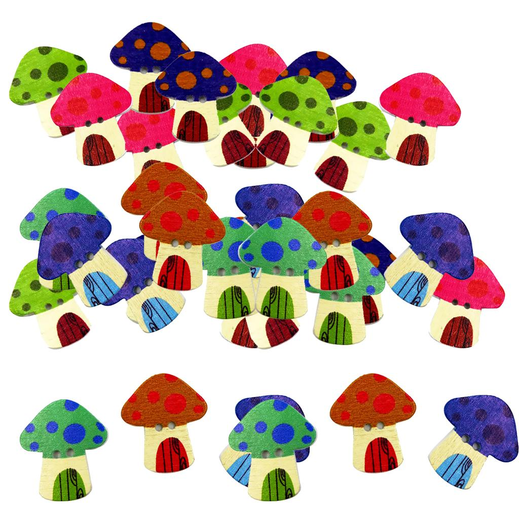 100 Pieces DIY Multicolored Mushroom Shape Wooden  Buttons Scrap booking Embellishment 25mm