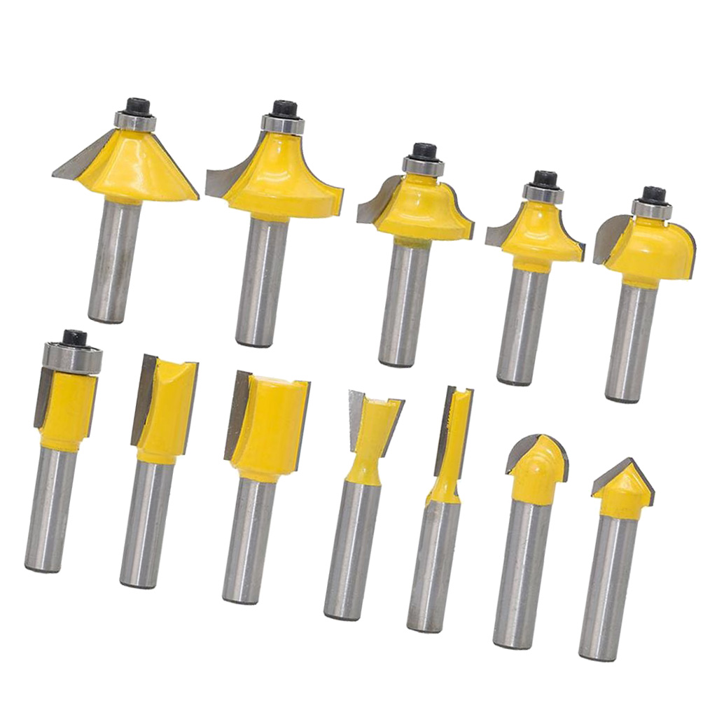 12 pcs Carbide Router Bits Set 8mm Shank Wood Rotary Power Tool