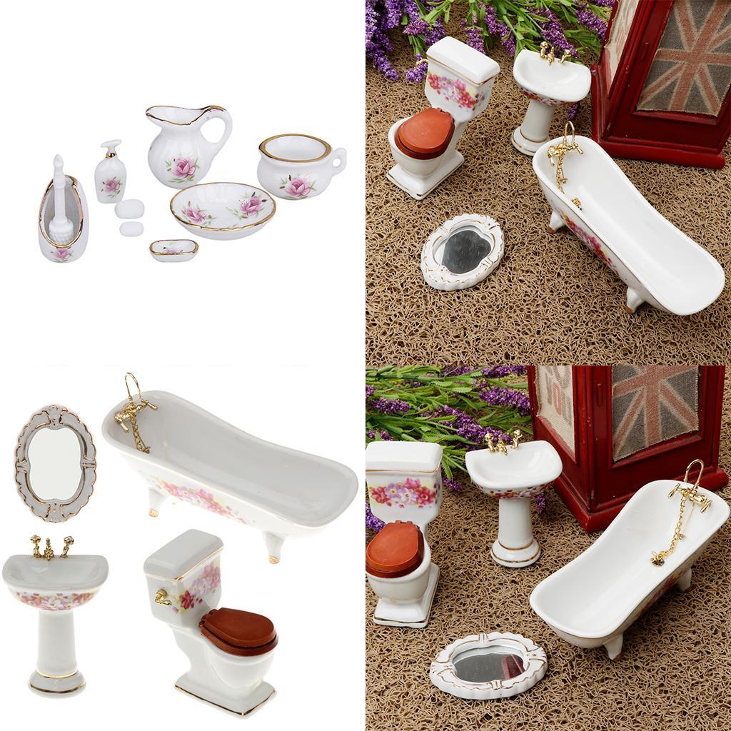 Décor de salle de bain Floral Toilette Baignoire Dollhouse Miniature Accs