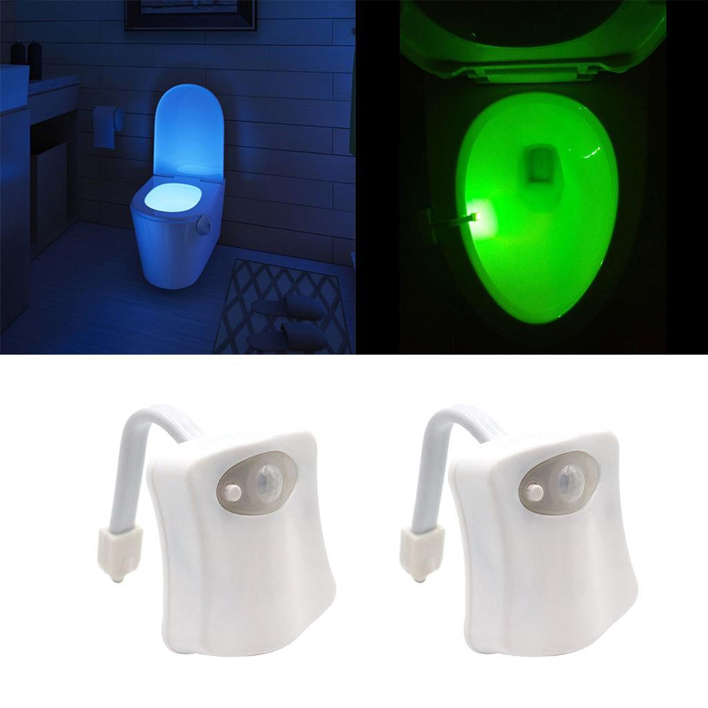 2 Stück WC Nachtlicht LED Hintergrundbeleuchtung Bewegung Aktivierter WC