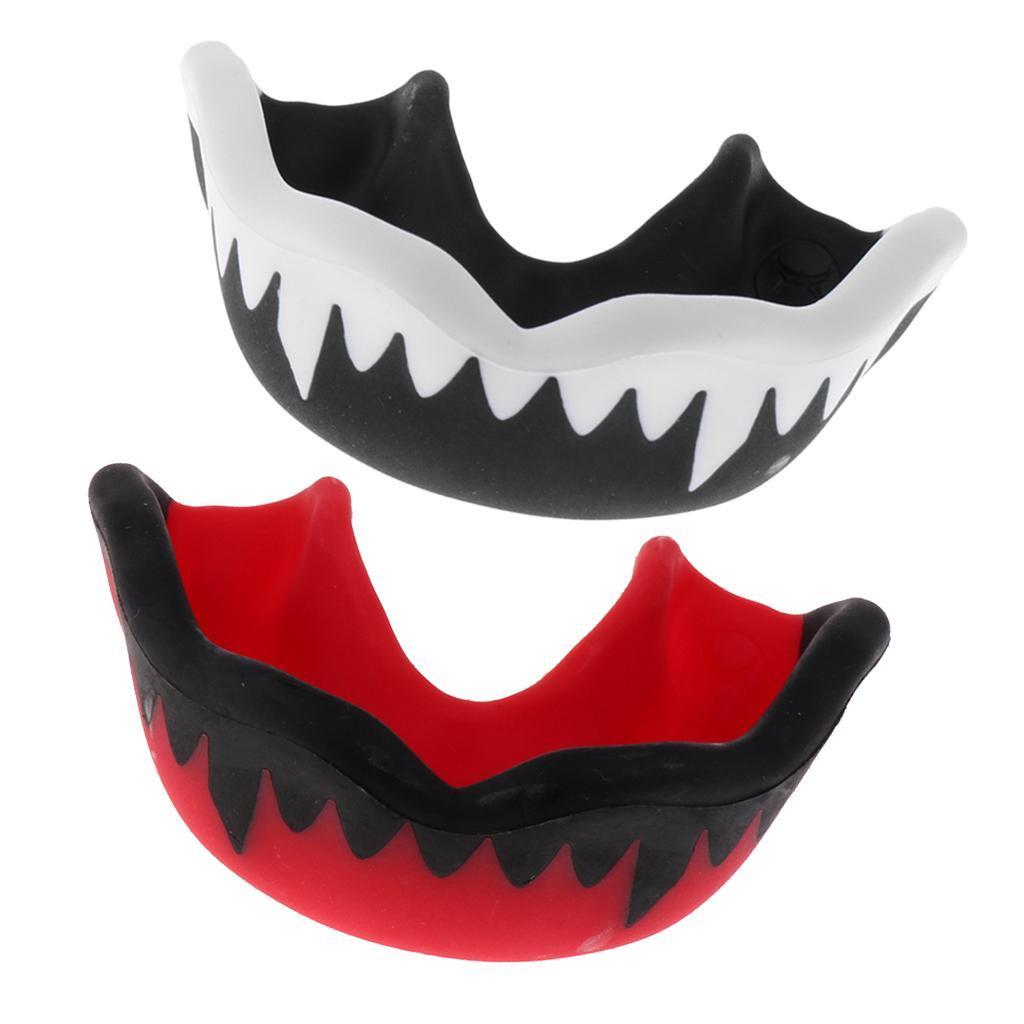 Set of 2 EVA Mouthguard Hockey Gum Shield MMA Guard Teeth Proctor with Case