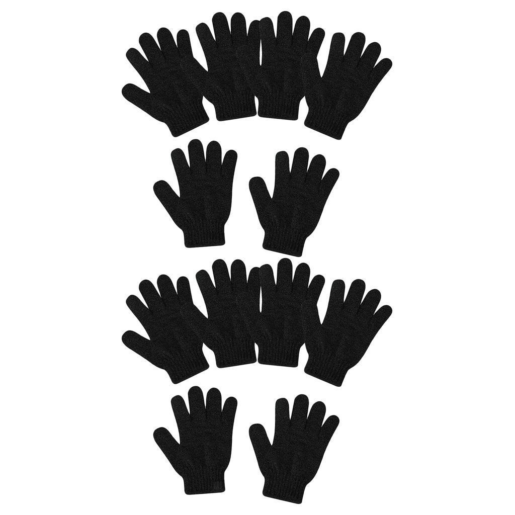 miniatura 8 - Lotti 12 Guanti esfolianti neri Guanti per il corpo intero per la doccia per il