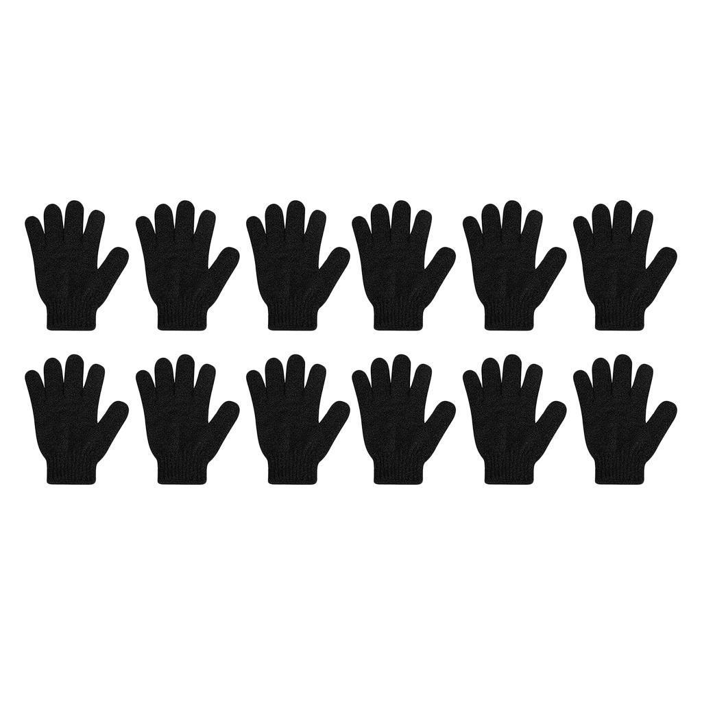 miniatura 7 - Lotti 12 Guanti esfolianti neri Guanti per il corpo intero per la doccia per il