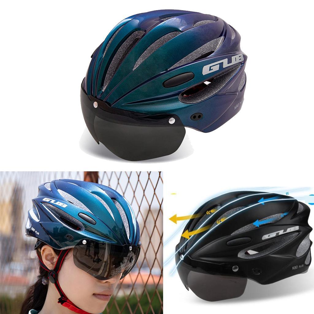 Adult Safety Cycling Bike Helmet with Removable Shield Goggles for Men Women