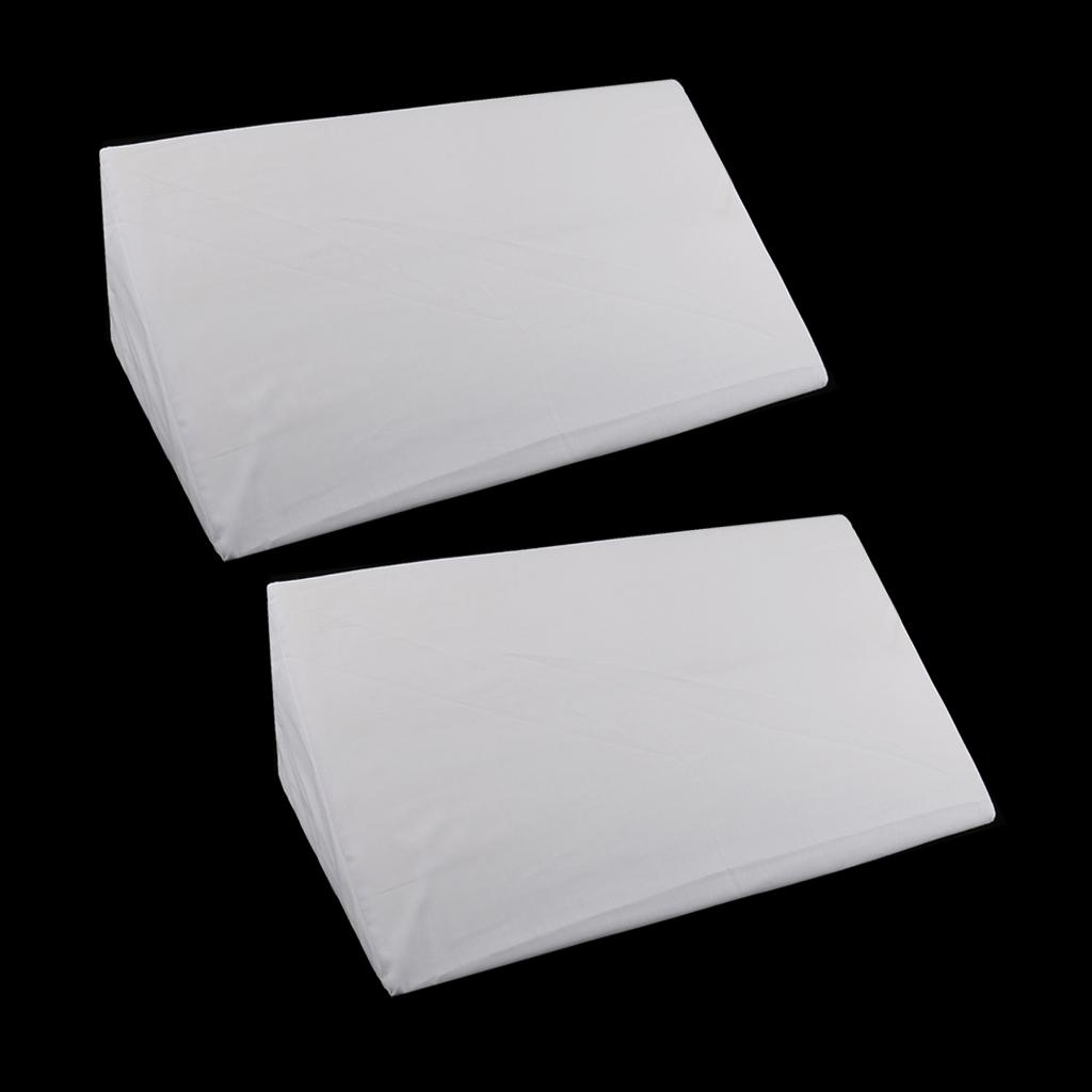 2xFoam Bed Wedge Pillow Cushion Lendenwirbelstütze mit Reißverschluss Cover