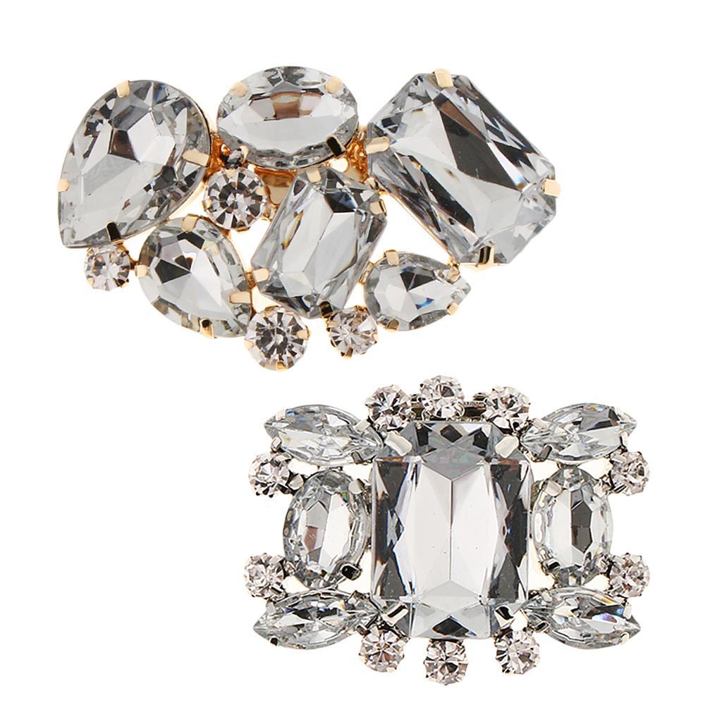 2Pcs Rhinestone Shoe Buckle Full Crystal Shoe Clips Bridal Wedding Shoes