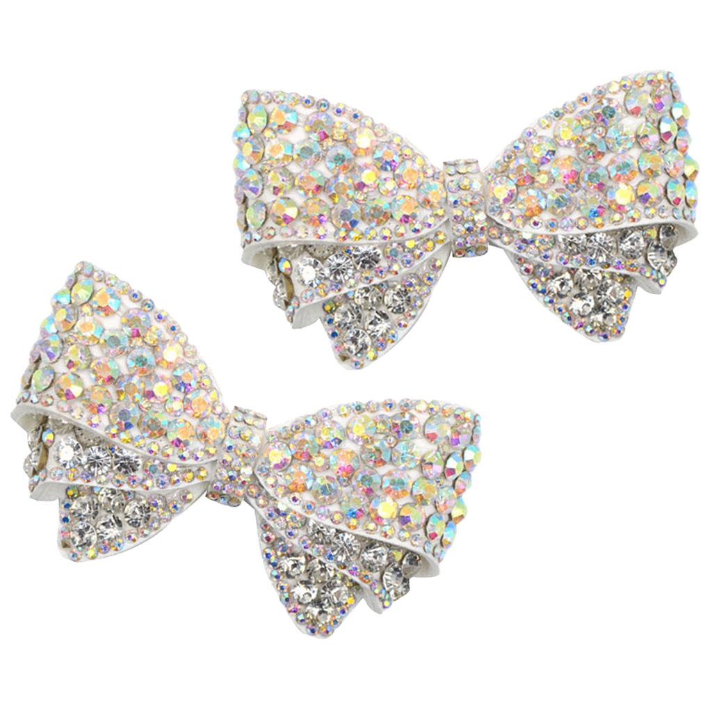 1Pair Womens Bowknot Shoe Charms Bridal Pointed Shoes Buckle Ornaments