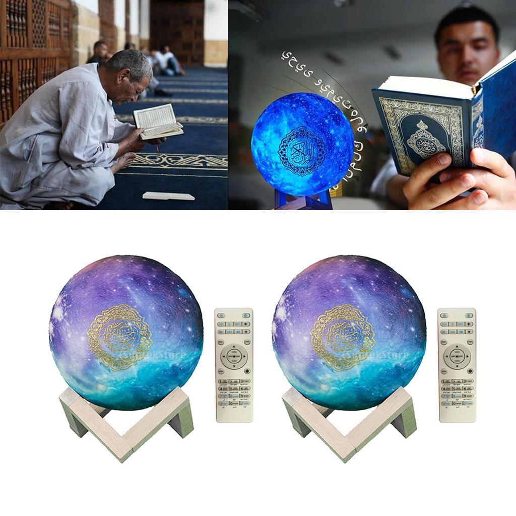 2Set Islam 3D Mond Koran Lautsprecher Bluetooth Mond Nacht lampe Licht 8GB TF FM