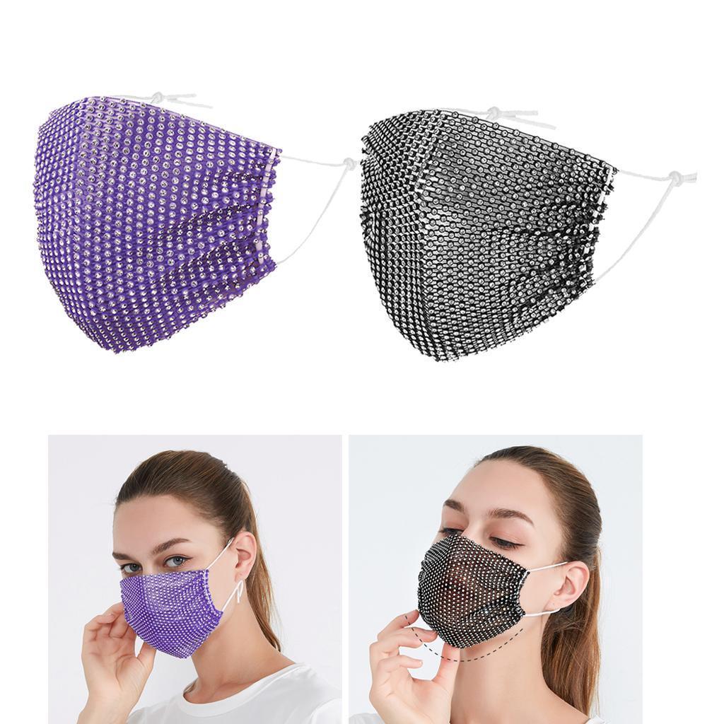 miniatura 5 - 2 pezzi maschera a rete con strass scintillanti maschere per il viso in maschera