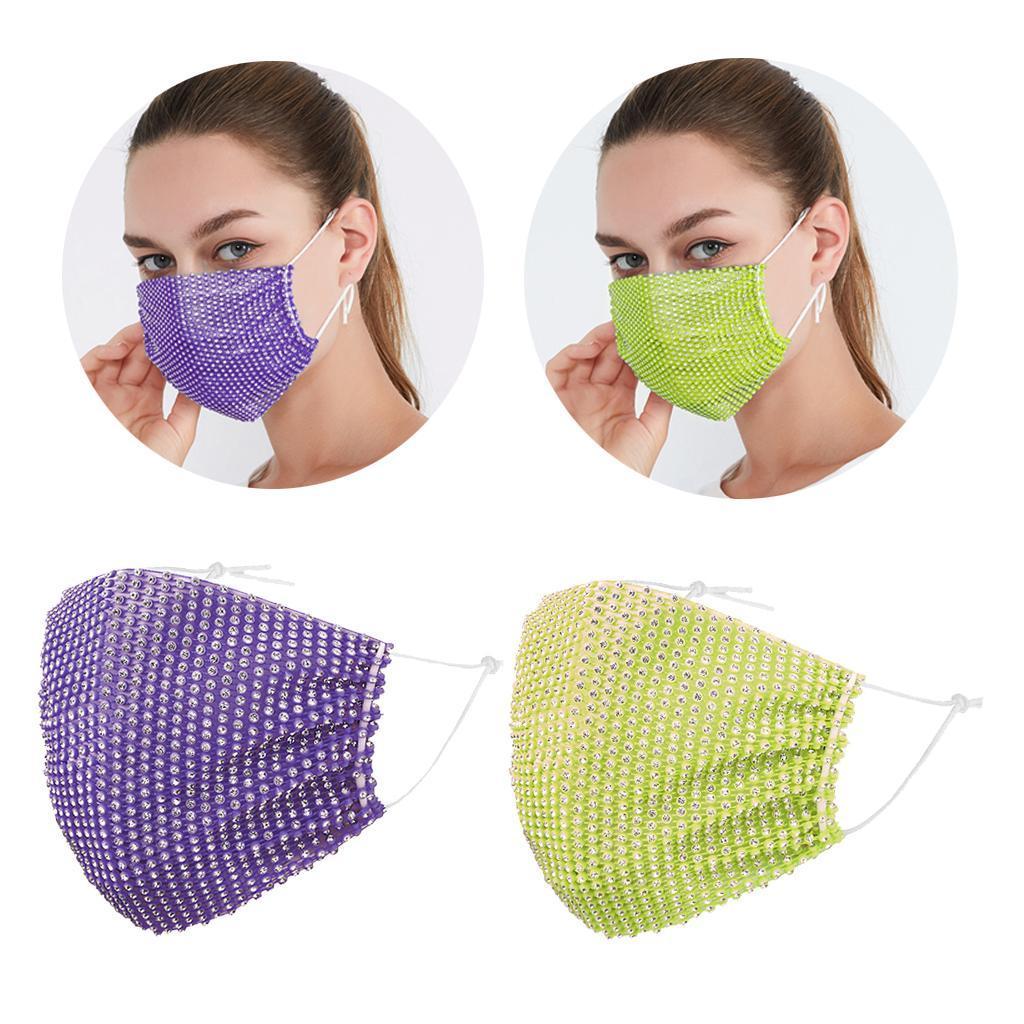 miniatura 8 - 2 pezzi maschera a rete con strass scintillanti maschere per il viso in maschera