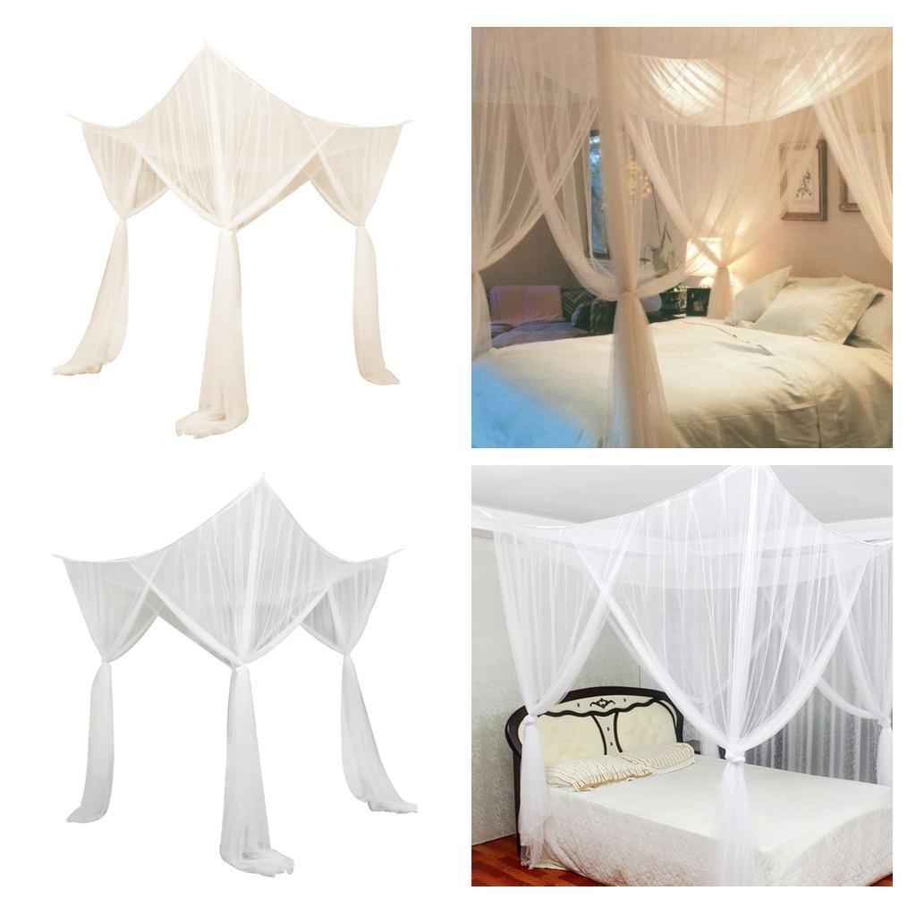 2 Stück 4 Eckpfosten Hängende Bett Baldachin Vorhang Netting Moskitonetz