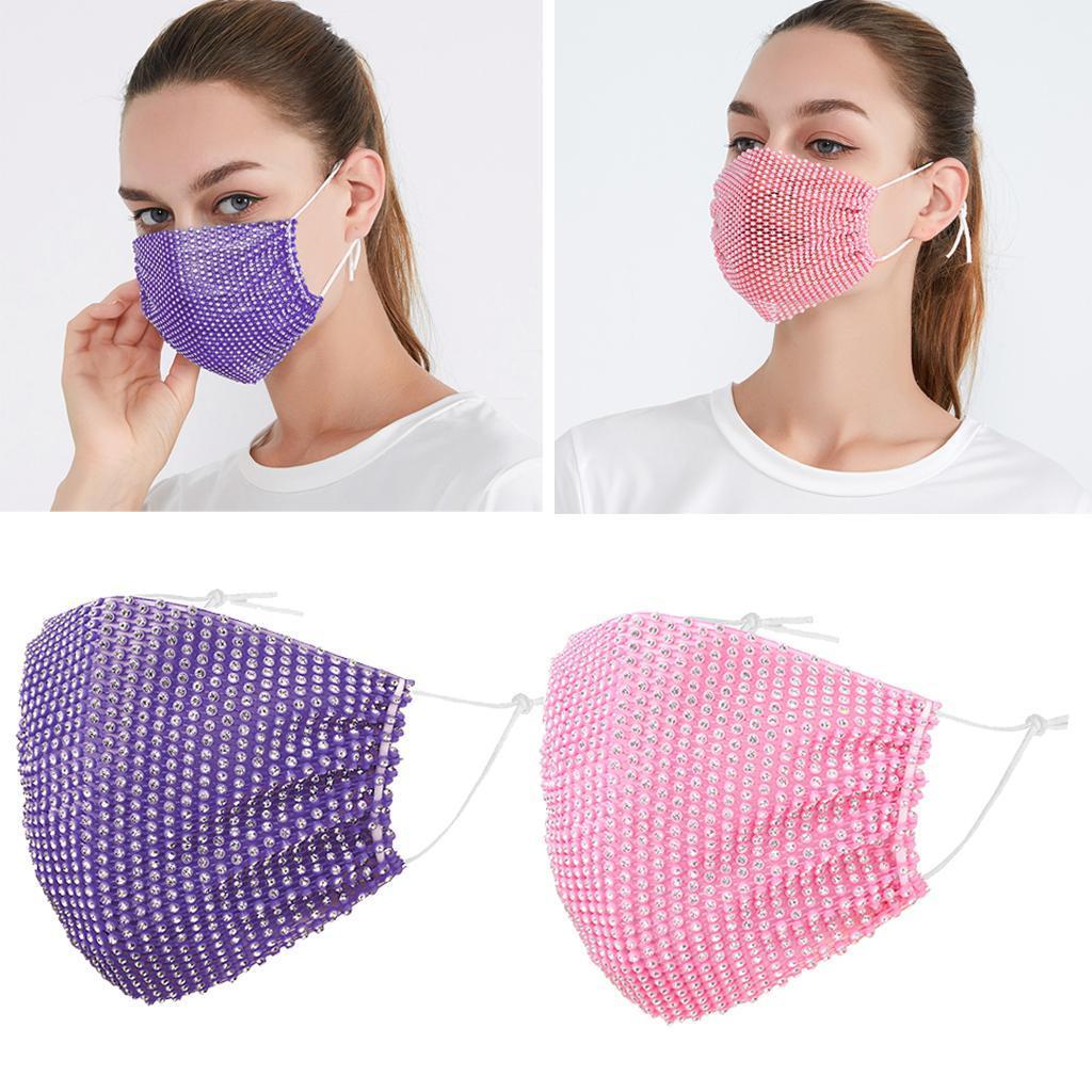 miniatura 12 - 2 pezzi maschera a rete con strass scintillanti maschere per il viso in maschera