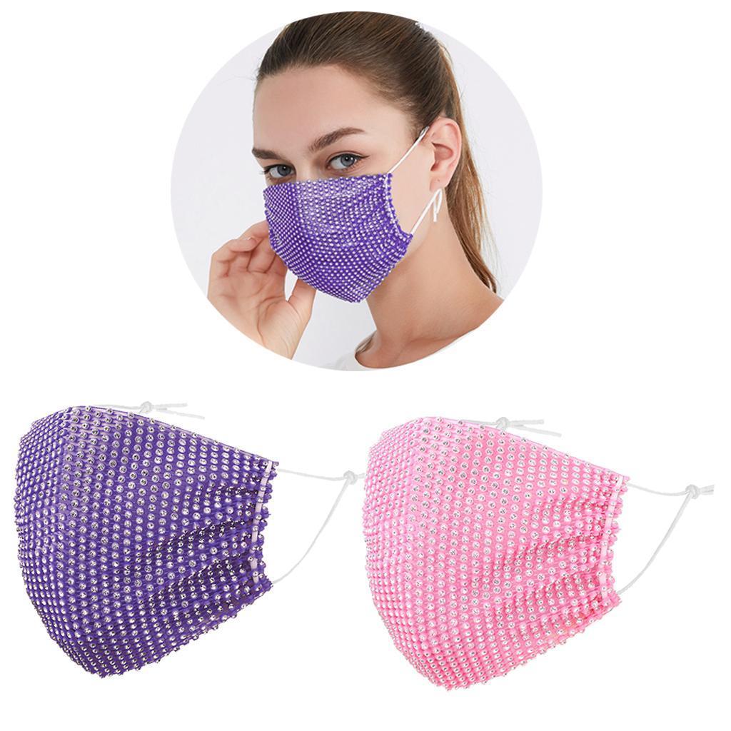 miniatura 11 - 2 pezzi maschera a rete con strass scintillanti maschere per il viso in maschera