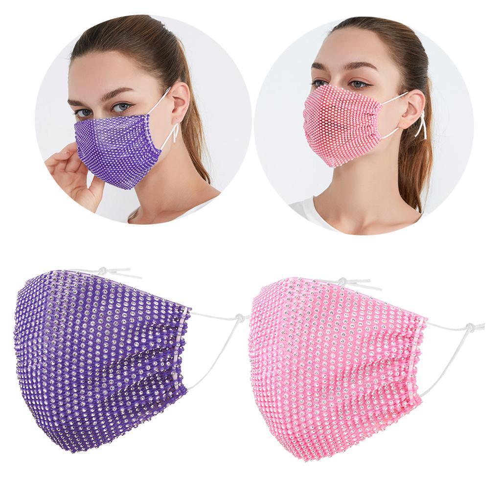 miniatura 13 - 2 pezzi maschera a rete con strass scintillanti maschere per il viso in maschera