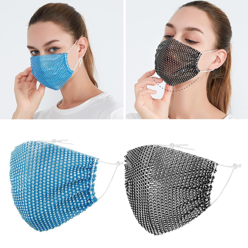 miniatura 15 - 2 pezzi maschera a rete con strass scintillanti maschere per il viso in maschera
