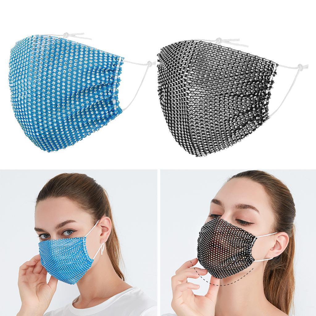miniatura 16 - 2 pezzi maschera a rete con strass scintillanti maschere per il viso in maschera