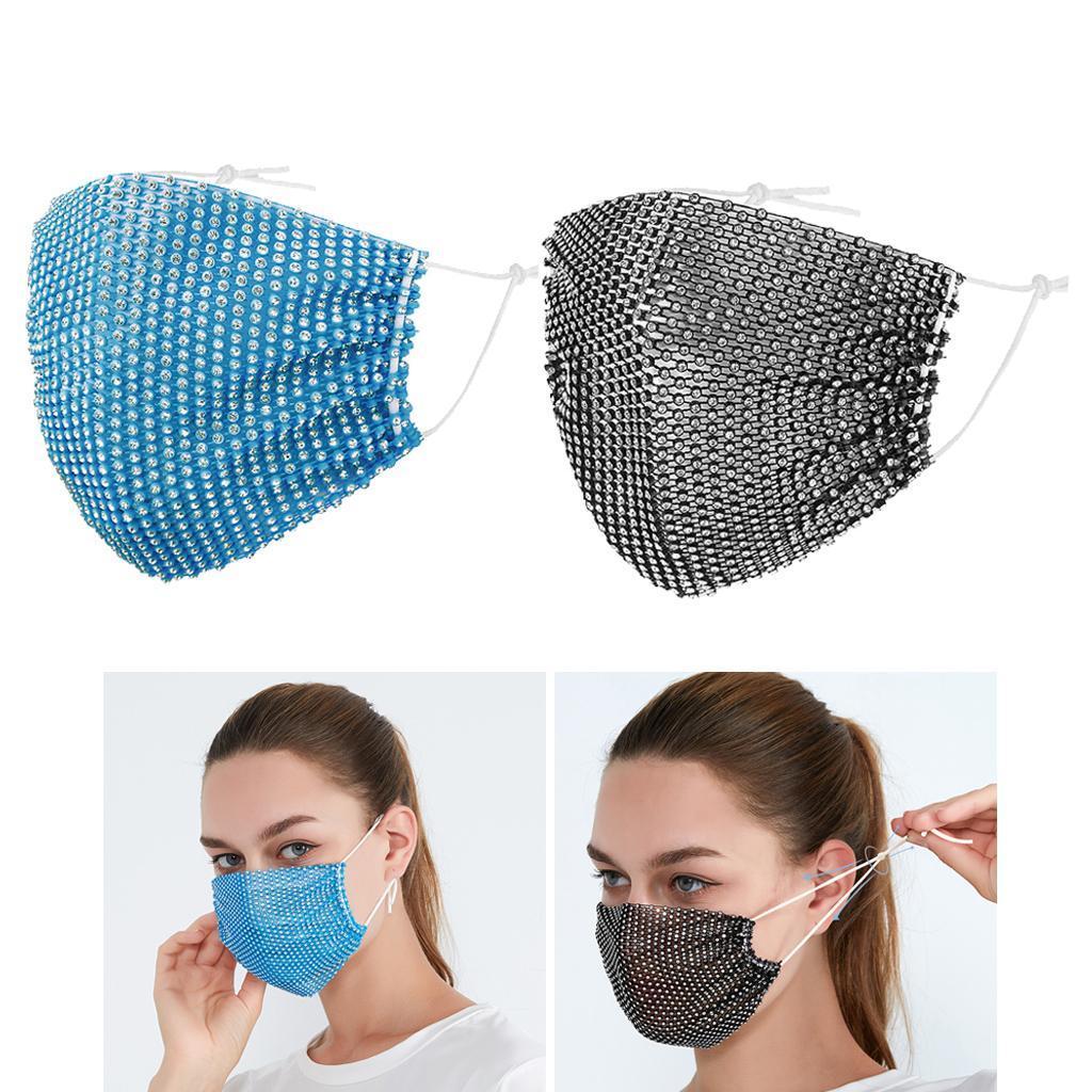 miniatura 14 - 2 pezzi maschera a rete con strass scintillanti maschere per il viso in maschera