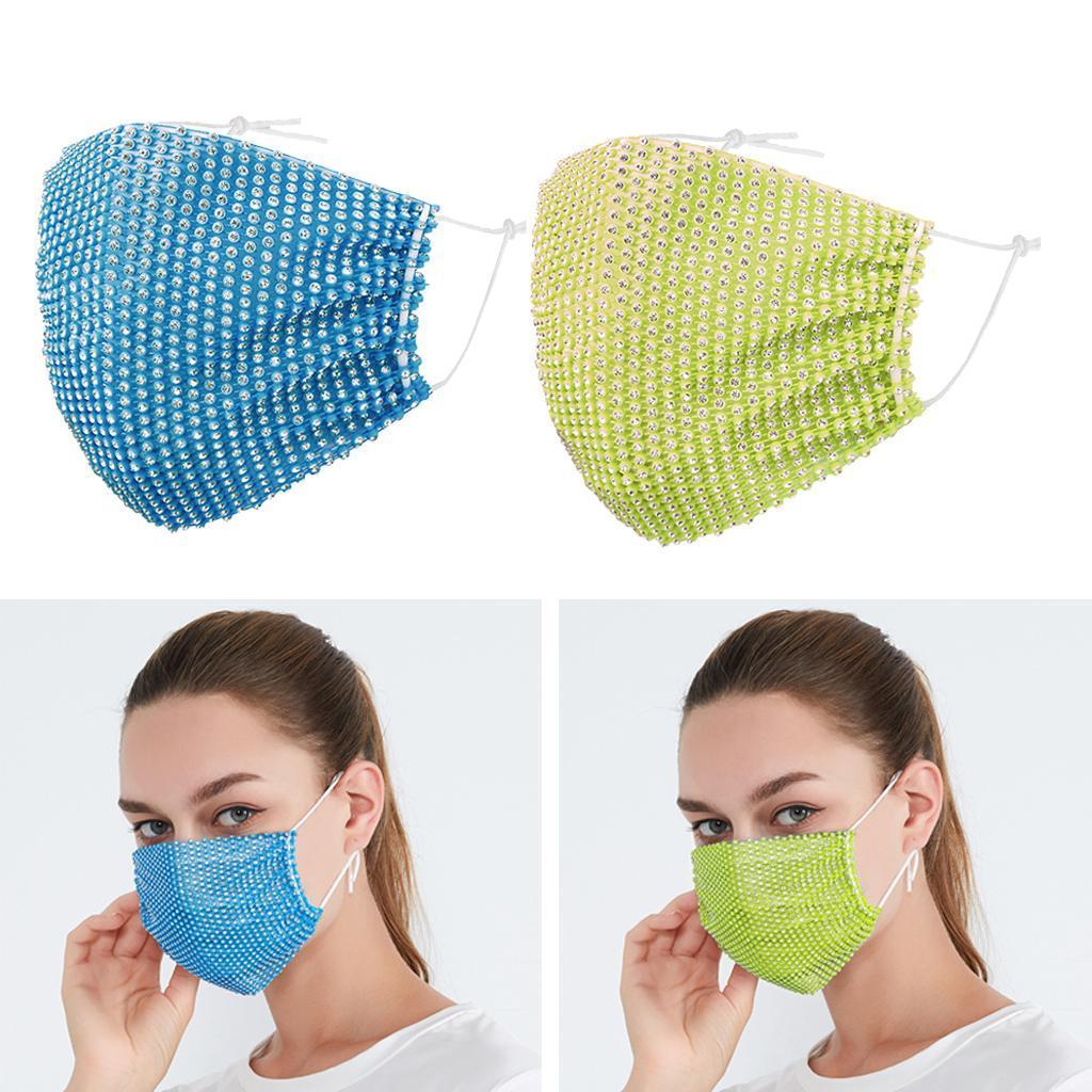 miniatura 18 - 2 pezzi maschera a rete con strass scintillanti maschere per il viso in maschera