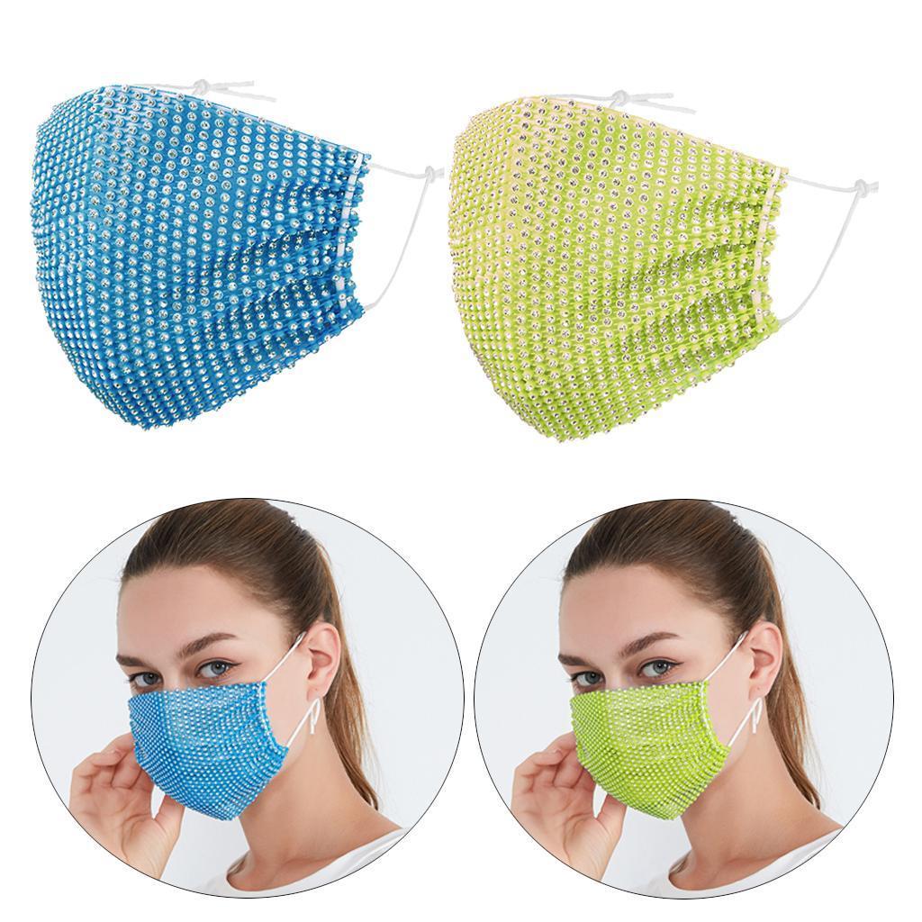 miniatura 17 - 2 pezzi maschera a rete con strass scintillanti maschere per il viso in maschera