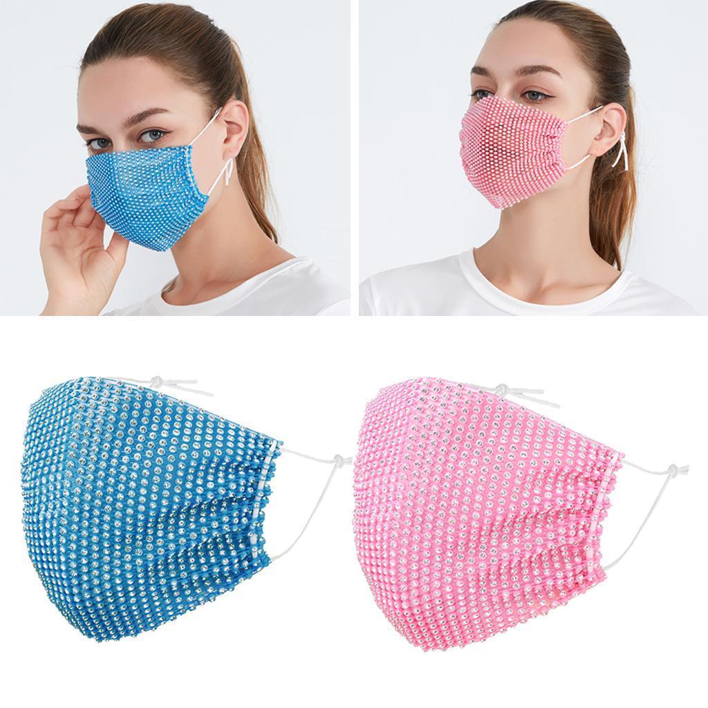 miniatura 21 - 2 pezzi maschera a rete con strass scintillanti maschere per il viso in maschera