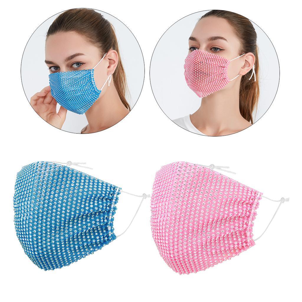 miniatura 22 - 2 pezzi maschera a rete con strass scintillanti maschere per il viso in maschera