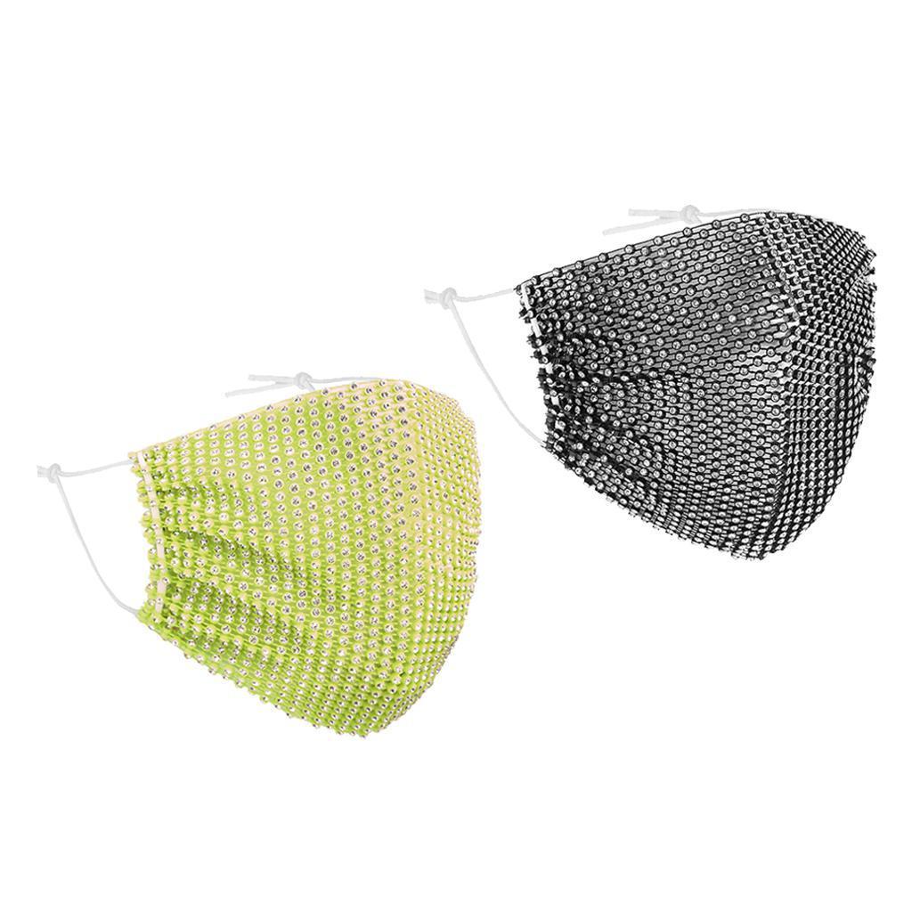 miniatura 24 - 2 pezzi maschera a rete con strass scintillanti maschere per il viso in maschera