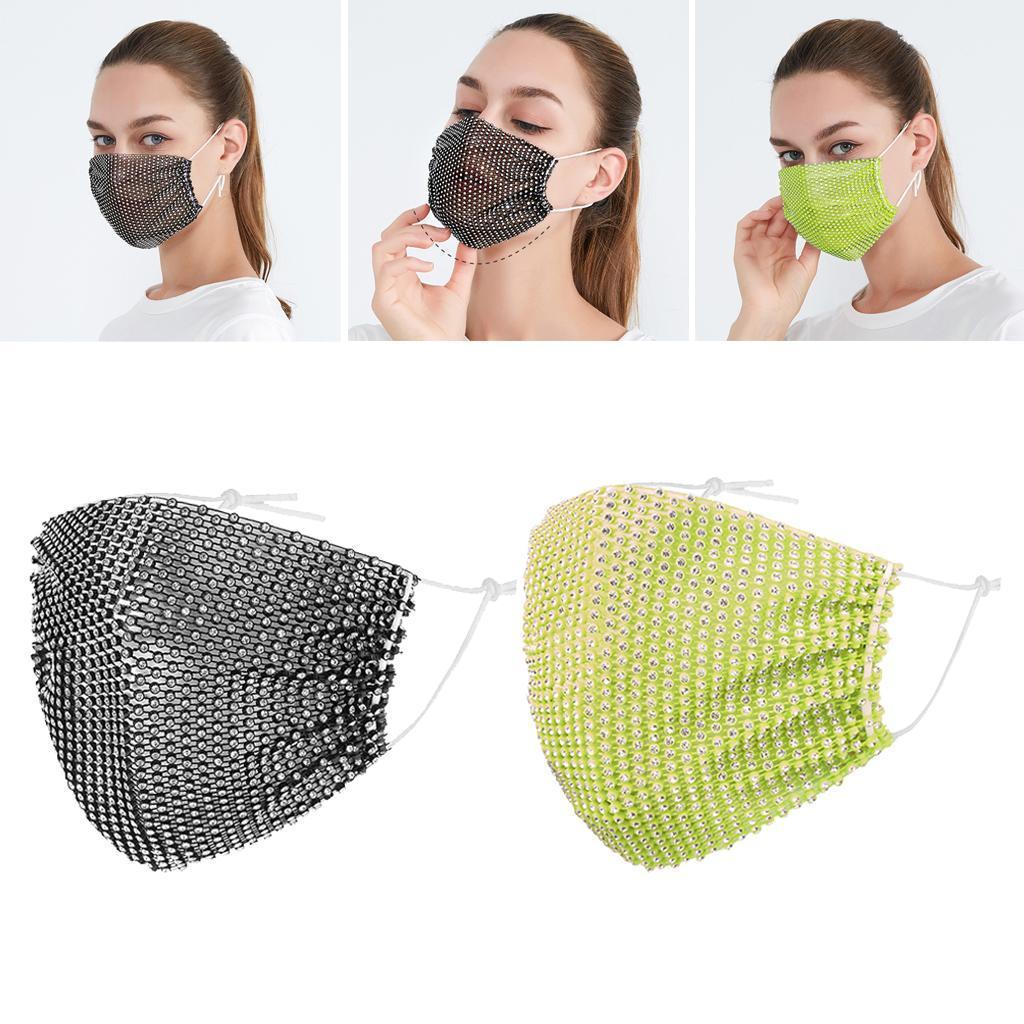 miniatura 25 - 2 pezzi maschera a rete con strass scintillanti maschere per il viso in maschera