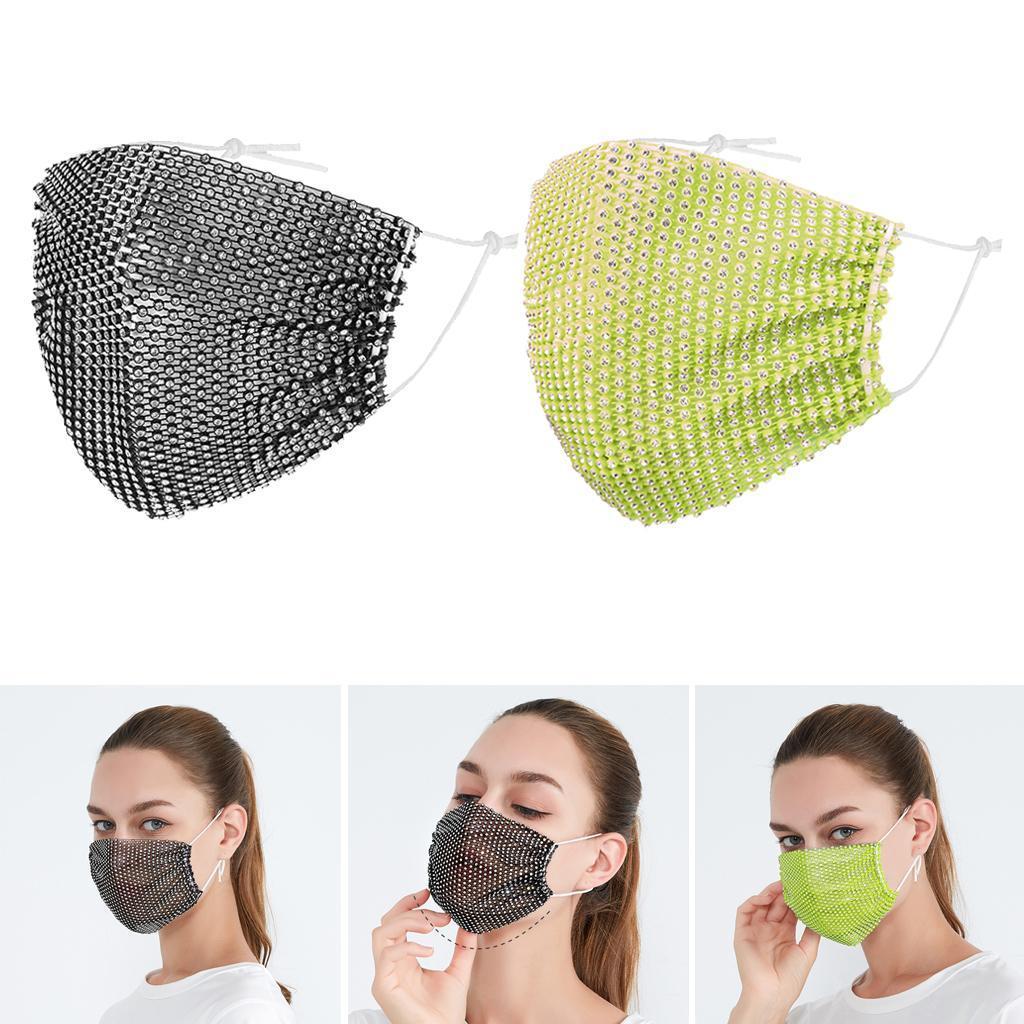 miniatura 23 - 2 pezzi maschera a rete con strass scintillanti maschere per il viso in maschera