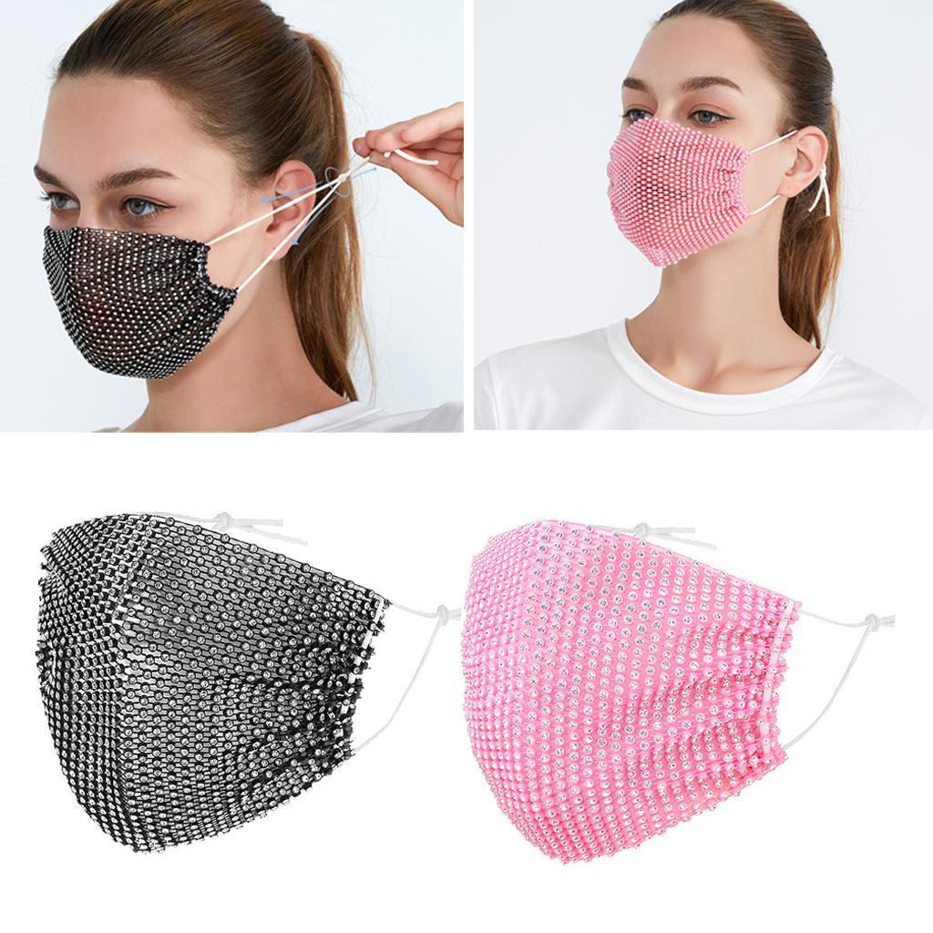 miniatura 27 - 2 pezzi maschera a rete con strass scintillanti maschere per il viso in maschera