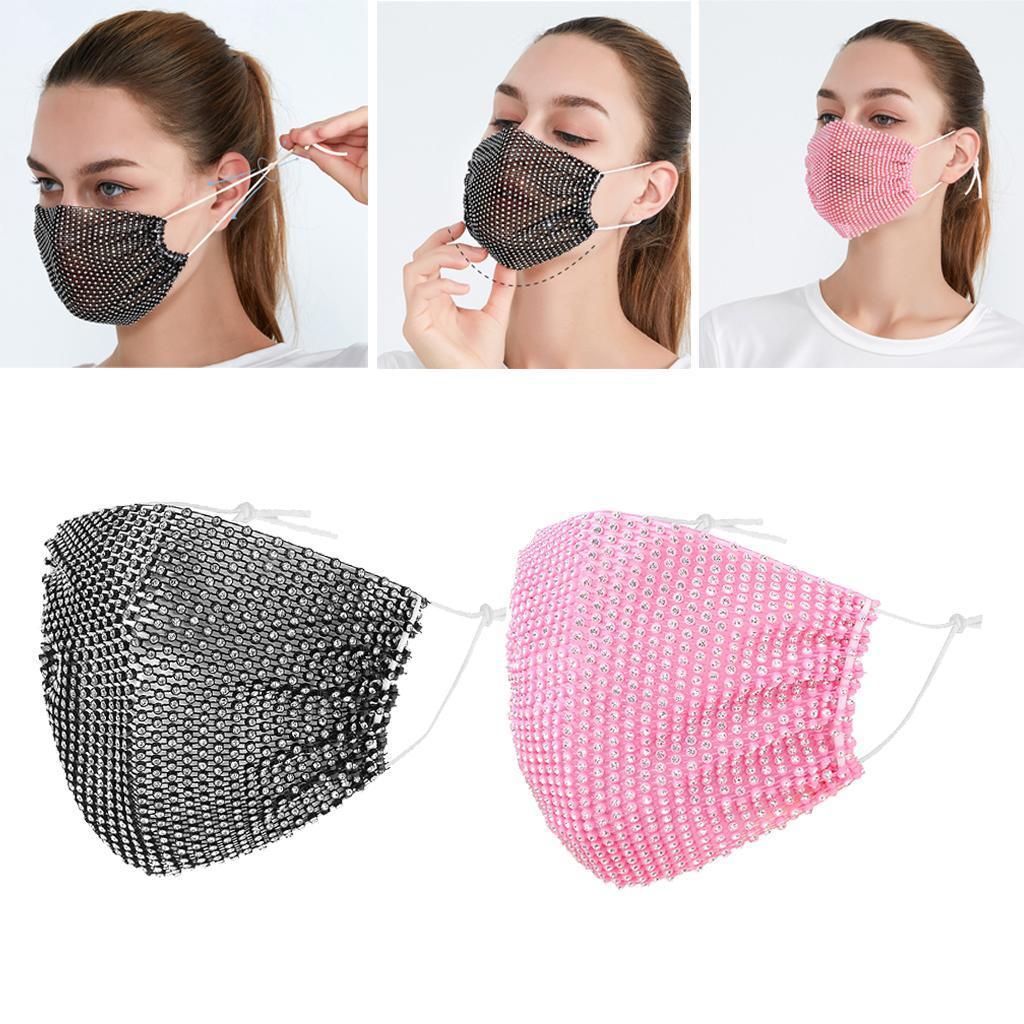 miniatura 28 - 2 pezzi maschera a rete con strass scintillanti maschere per il viso in maschera