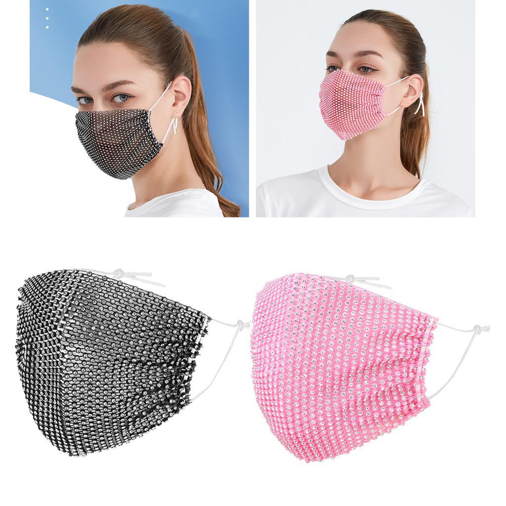 miniatura 26 - 2 pezzi maschera a rete con strass scintillanti maschere per il viso in maschera