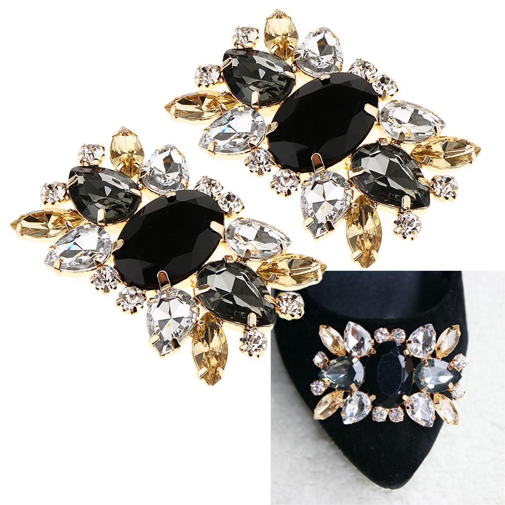 2x Fashion Decorative Rhinestones Crystal Wedding Party Shoes Clips Buckles