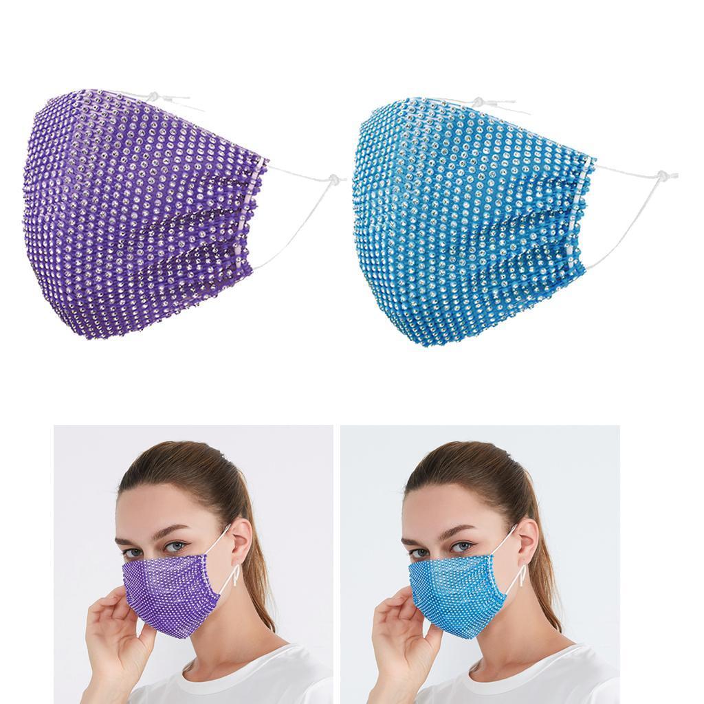 miniatura 3 - 2 pezzi maschera a rete con strass scintillanti maschere per il viso in maschera